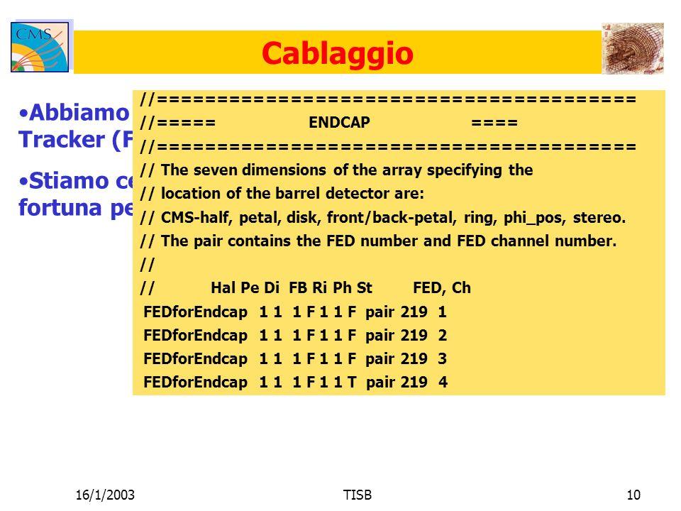 16/1/2003TISB10 Cablaggio Abbiamo forse un modello sensato dei cabling nel Tracker (FED to APV). Stiamo cercando di capirla e di adattarla, con poca f