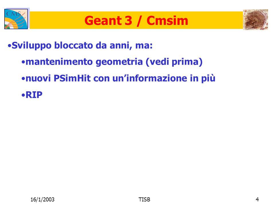 16/1/2003TISB4 Geant 3 / Cmsim Sviluppo bloccato da anni, ma: mantenimento geometria (vedi prima) nuovi PSimHit con uninformazione in più RIP