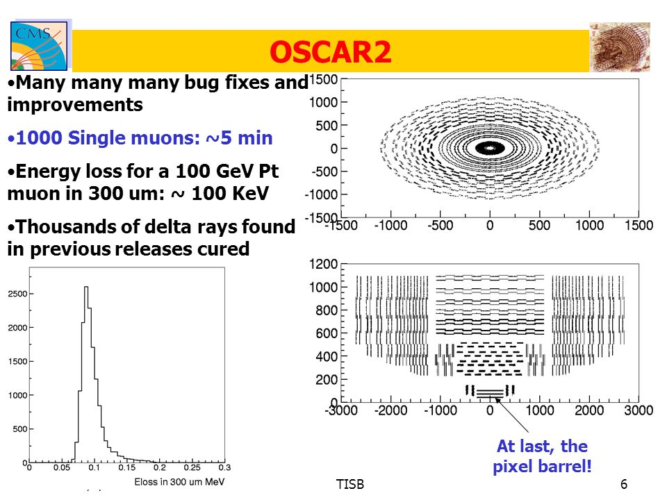 16/1/2003TISB6 OSCAR2 Many many many bug fixes and improvements 1000 Single muons: ~5 min Energy loss for a 100 GeV Pt muon in 300 um: ~ 100 KeV Thousands of delta rays found in previous releases cured At last, the pixel barrel!