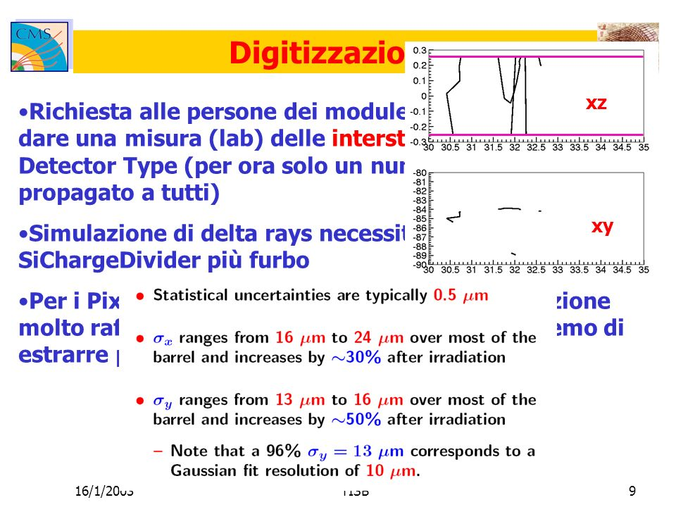 16/1/2003TISB9 Digitizzazione Richiesta alle persone dei module/system test di dare una misura (lab) delle interstrip crosstalk per Detector Type (per ora solo un numero del TOB propagato a tutti) Simulazione di delta rays necessita di un SiChargeDivider più furbo Per i Pixel, abbiamo a disposizione una simulazione molto raffinata (~ore per interazione); cercheremo di estrarre parametrizzazioni.