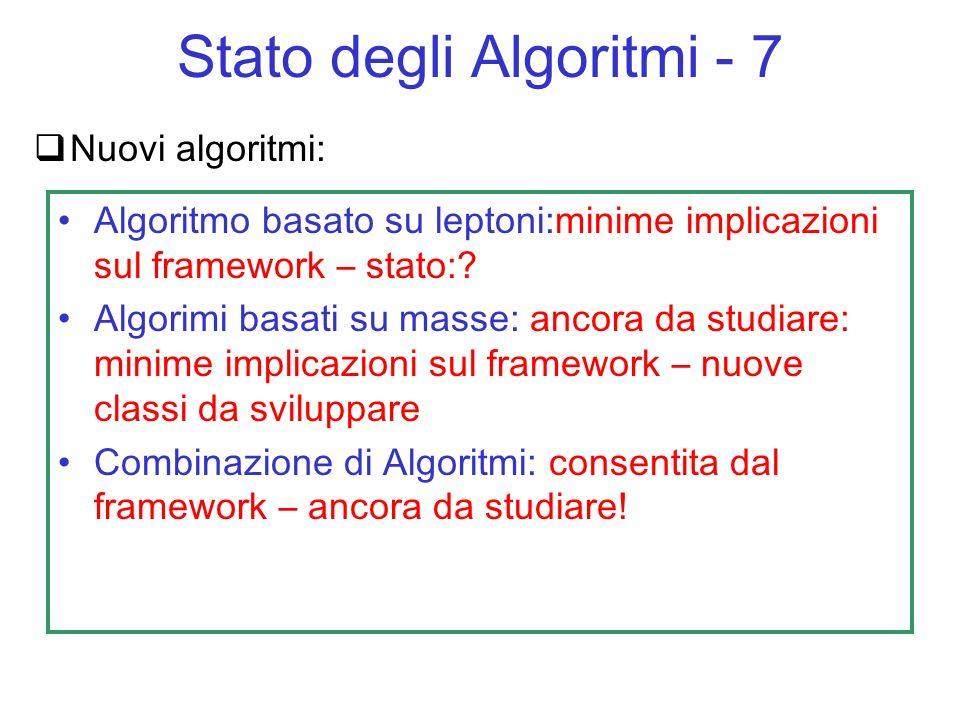Nuovi algoritmi: Algoritmo basato su leptoni:minime implicazioni sul framework – stato:? Algorimi basati su masse: ancora da studiare: minime implicaz
