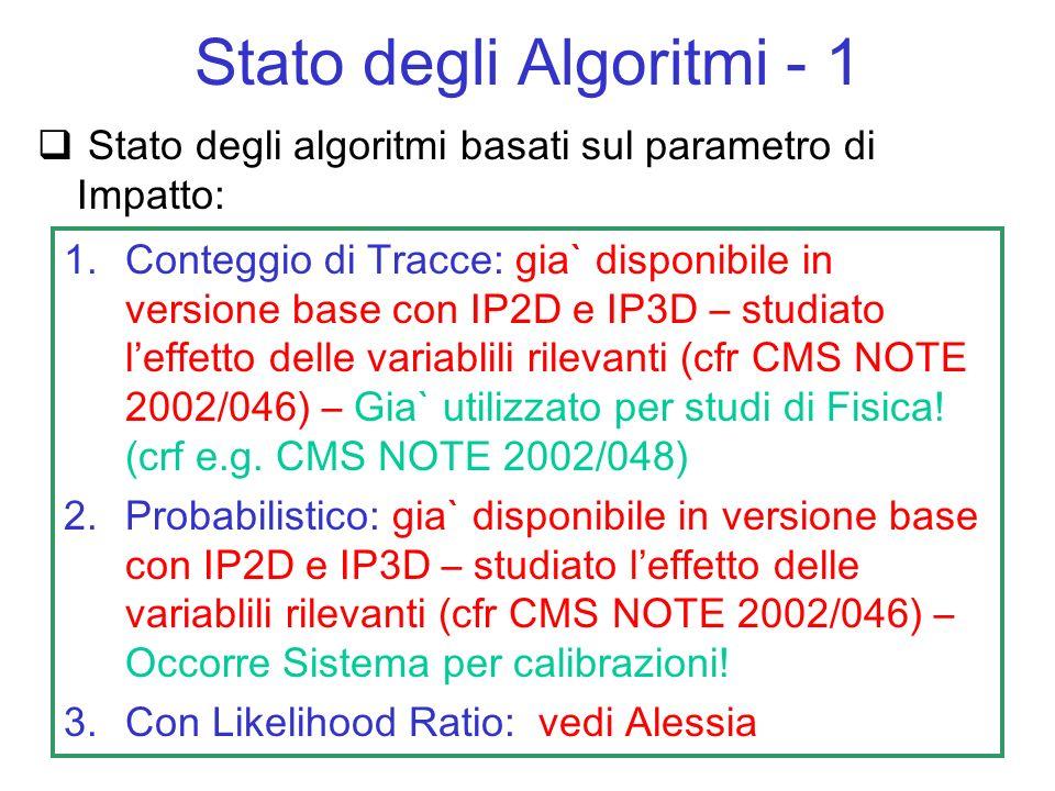 Necessario fornire dei tagli ottimizzati in funzione di E T, per un utente blind – a tale scopo servono: Ntupla Standard (ce… va bene?) Elevata statistica di eventi con getti di b,u (QCD, W+getti, tt, H) in modo da coprire tutti gli intervalli (da capire se bastano, quanti ce ne vogliono e di che tipo) Tools di ottimizzazione: kumac, classi, macro, programmi che permettono lottimizzazione automatica (da scrivere … di che tipo?) Tools di debug (inesistenti… da pensare) Stato degli Algoritmi - 2 Da provare prima su algoritmi semplici e poi estendere ai piu complessi