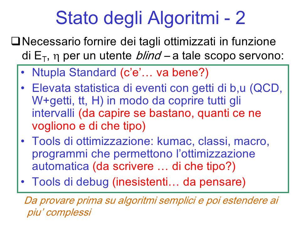 Necessario fornire dei tagli ottimizzati in funzione di E T, per un utente blind – a tale scopo servono: Ntupla Standard (ce… va bene ) Elevata statistica di eventi con getti di b,u (QCD, W+getti, tt, H) in modo da coprire tutti gli intervalli (da capire se bastano, quanti ce ne vogliono e di che tipo) Tools di ottimizzazione: kumac, classi, macro, programmi che permettono lottimizzazione automatica (da scrivere … di che tipo ) Tools di debug (inesistenti… da pensare) Stato degli Algoritmi - 2 Da provare prima su algoritmi semplici e poi estendere ai piu complessi