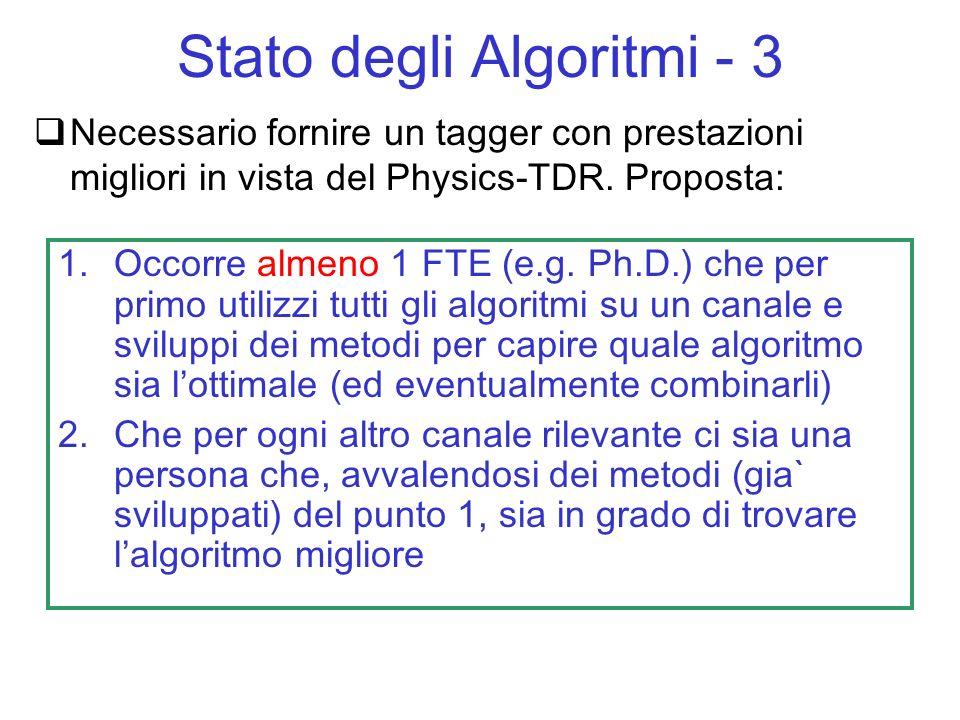 Necessario fornire un tagger con prestazioni migliori in vista del Physics-TDR. Proposta: Stato degli Algoritmi - 3 1.Occorre almeno 1 FTE (e.g. Ph.D.