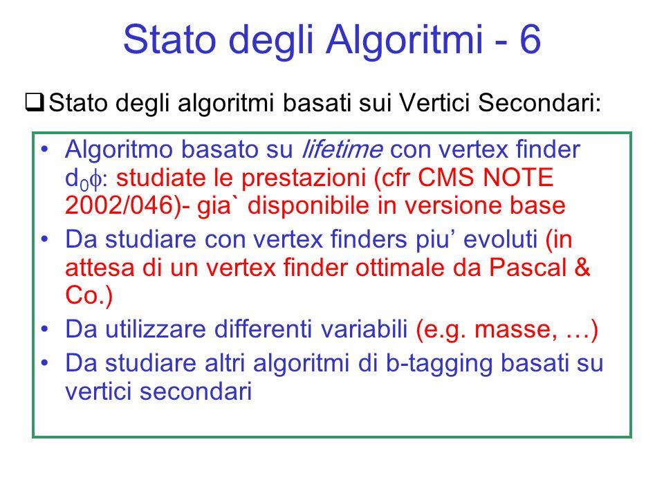 Stato degli algoritmi basati sui Vertici Secondari: Algoritmo basato su lifetime con vertex finder d 0 studiate le prestazioni (cfr CMS NOTE 2002/046)