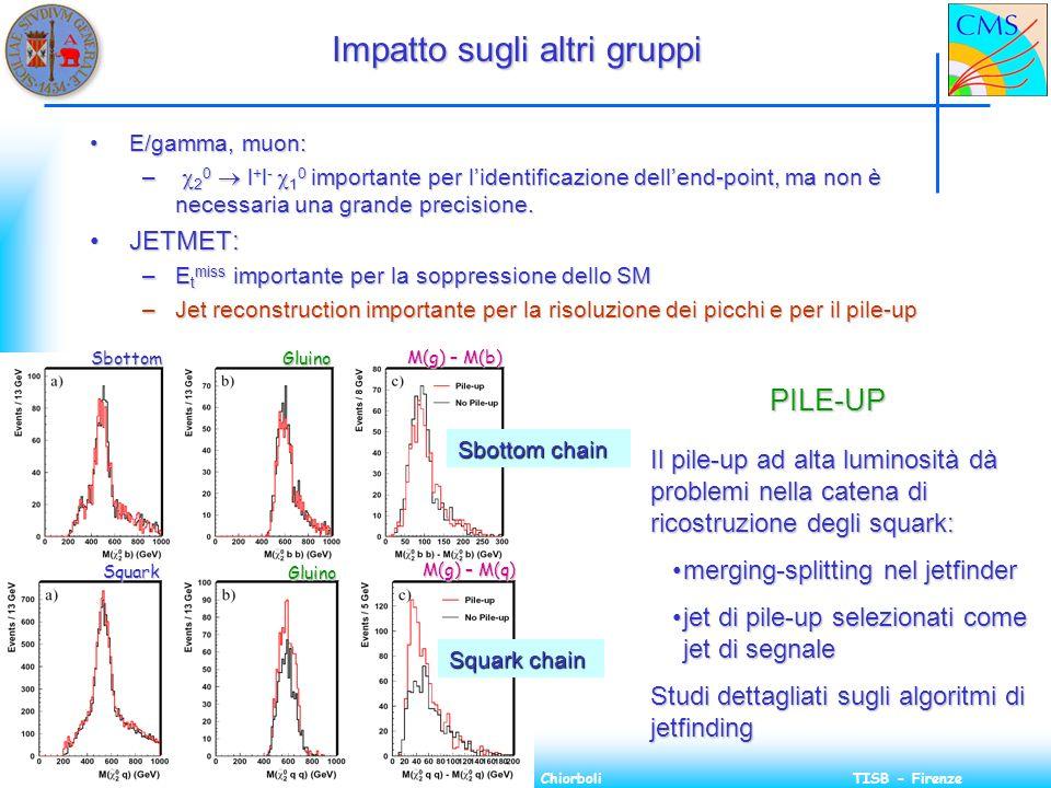 15 Gennaio 2003Massimiliano ChiorboliTISB - Firenze Impatto sugli altri gruppi E/gamma, muon:E/gamma, muon: – 2 0 l + l - 1 0 importante per lidentificazione dellend-point, ma non è necessaria una grande precisione.