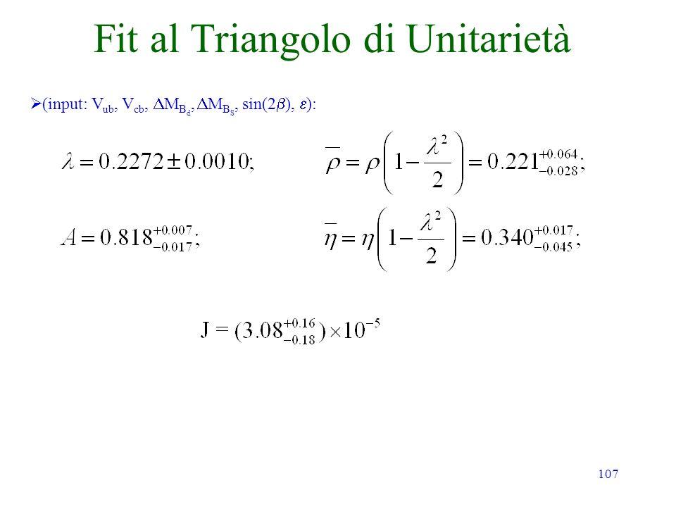 107 Fit al Triangolo di Unitarietà (input: V ub, V cb, M B d, M B S, sin(2 ), ):