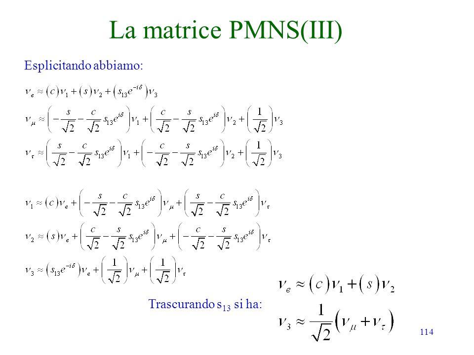 114 La matrice PMNS(III) Esplicitando abbiamo: Trascurando s 13 si ha: