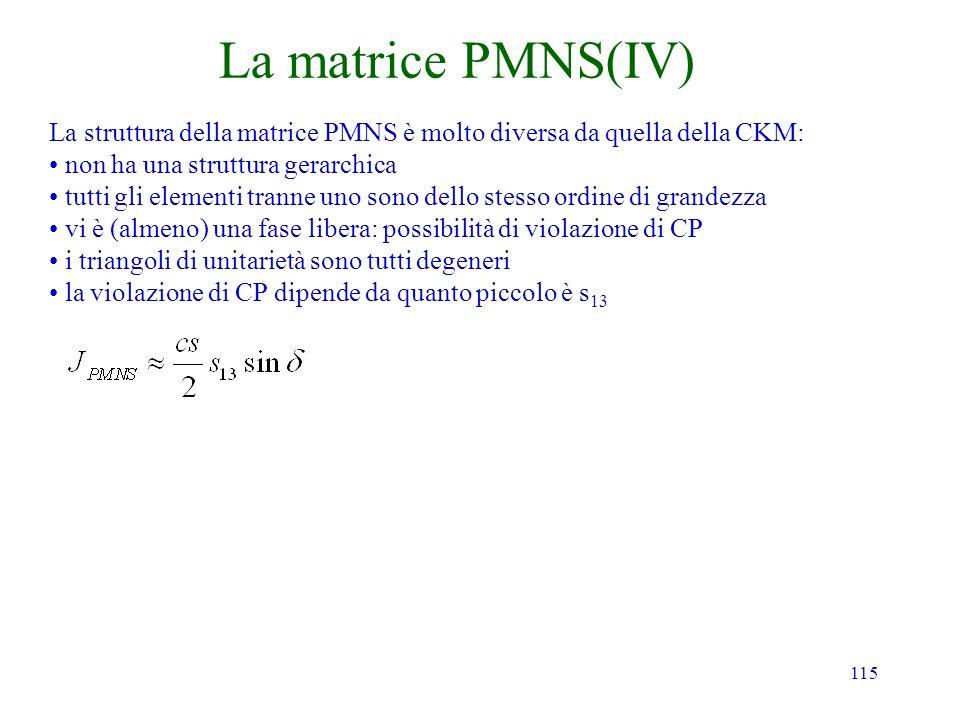 115 La matrice PMNS(IV) La struttura della matrice PMNS è molto diversa da quella della CKM: non ha una struttura gerarchica tutti gli elementi tranne uno sono dello stesso ordine di grandezza vi è (almeno) una fase libera: possibilità di violazione di CP i triangoli di unitarietà sono tutti degeneri la violazione di CP dipende da quanto piccolo è s 13