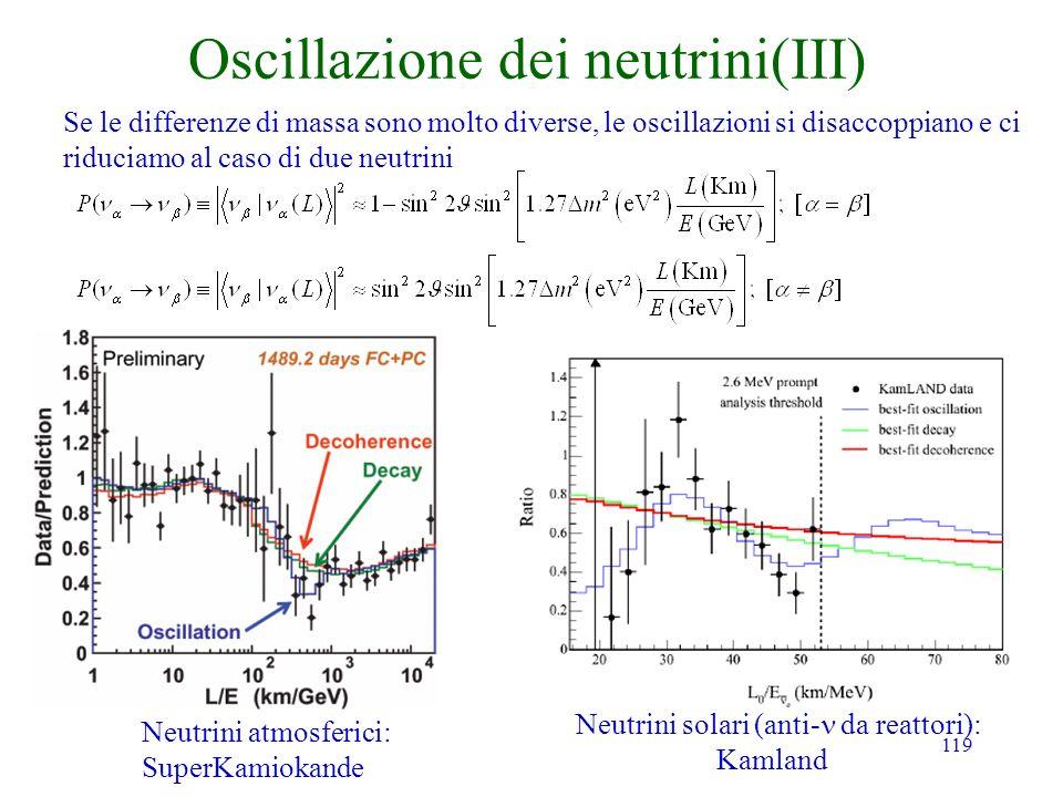 119 Oscillazione dei neutrini(III) Se le differenze di massa sono molto diverse, le oscillazioni si disaccoppiano e ci riduciamo al caso di due neutrini Neutrini atmosferici: SuperKamiokande Neutrini solari (anti- da reattori): Kamland
