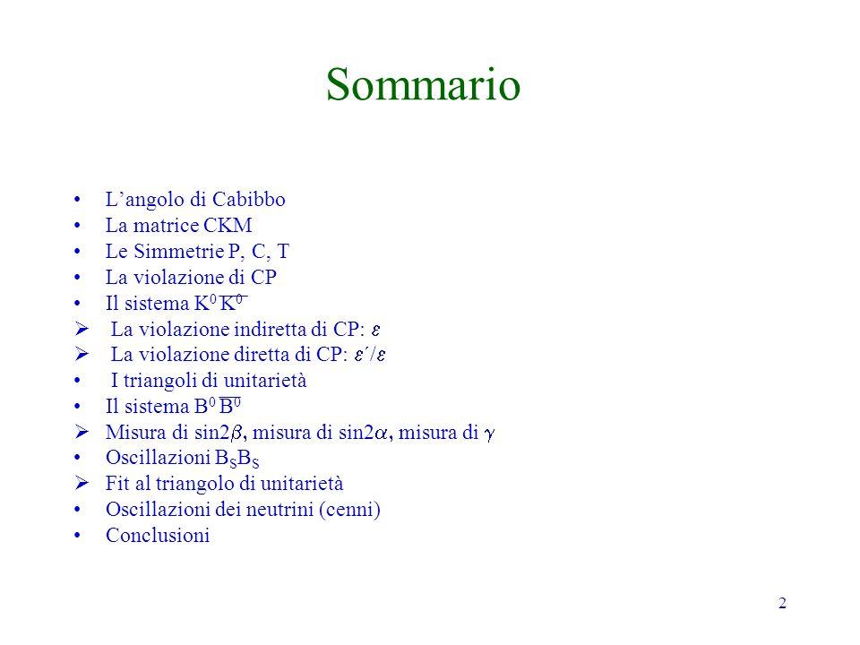 2 Sommario Langolo di Cabibbo La matrice CKM Le Simmetrie P, C, T La violazione di CP Il sistema K 0 K 0 La violazione indiretta di CP: La violazione diretta di CP: ´/ I triangoli di unitarietà Il sistema B 0 B 0 Misura di sin2 misura di sin2 misura di Oscillazioni B S B S Fit al triangolo di unitarietà Oscillazioni dei neutrini (cenni) Conclusioni