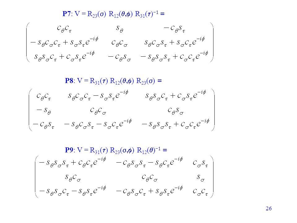 26 P7: V = R 23 ( ) R 12 ( ) R 31 ( ) P8: V = R 31 ( ) R 12 ( ) R 23 ( ) P9: V = R 31 ( ) R 23 ( ) R 12 ( )