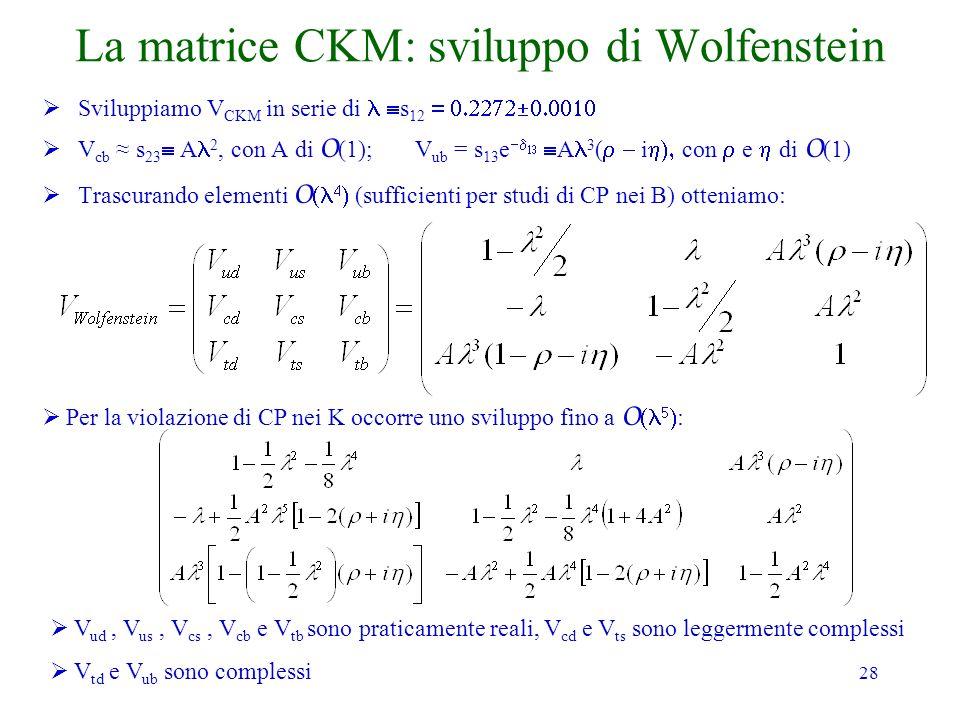 28 La matrice CKM: sviluppo di Wolfenstein Sviluppiamo V CKM in serie di s 12 V cb s 23 A 2, con A di O (1); V ub = s 13 e A 3 ( i con e di O (1) Trascurando elementi O (sufficienti per studi di CP nei B) otteniamo: Per la violazione di CP nei K occorre uno sviluppo fino a O : V ud, V us, V cs, V cb e V tb sono praticamente reali, V cd e V ts sono leggermente complessi V td e V ub sono complessi