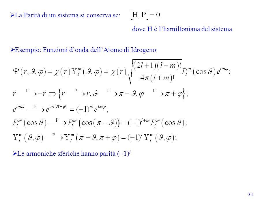 31 La Parità di un sistema si conserva se: dove H è lhamiltoniana del sistema Esempio: Funzioni donda dellAtomo di Idrogeno Le armoniche sferiche hanno parità ( 1) l