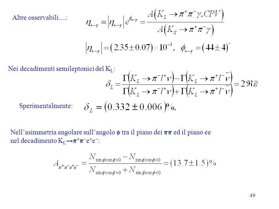 49 Altre osservabili....: Nellasimmetria angolare sullangolo tra il piano dei ed il piano ee nel decadimento K L e e : Sperimentalmente: Nei decadimenti semileptonici del K L :