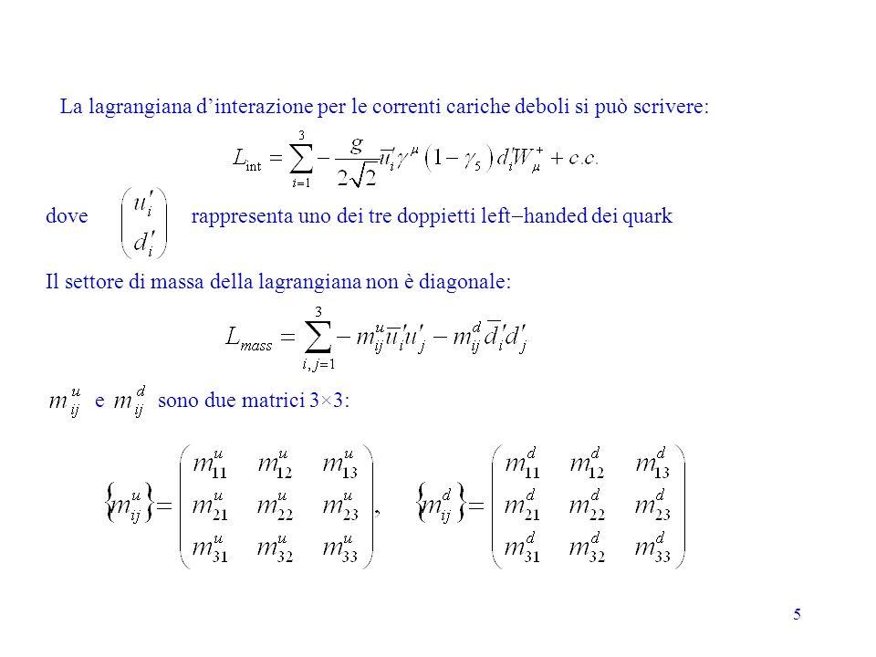 5 La lagrangiana dinterazione per le correnti cariche deboli si può scrivere: rappresenta uno dei tre doppietti left handed dei quark Il settore di massa della lagrangiana non è diagonale: e sono due matrici 3×3: dove