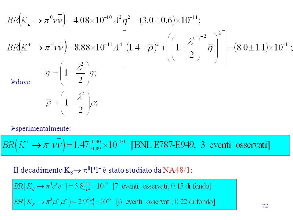 72 sperimentalmente: dove Il decadimento K S l l è stato studiato da NA48/1: