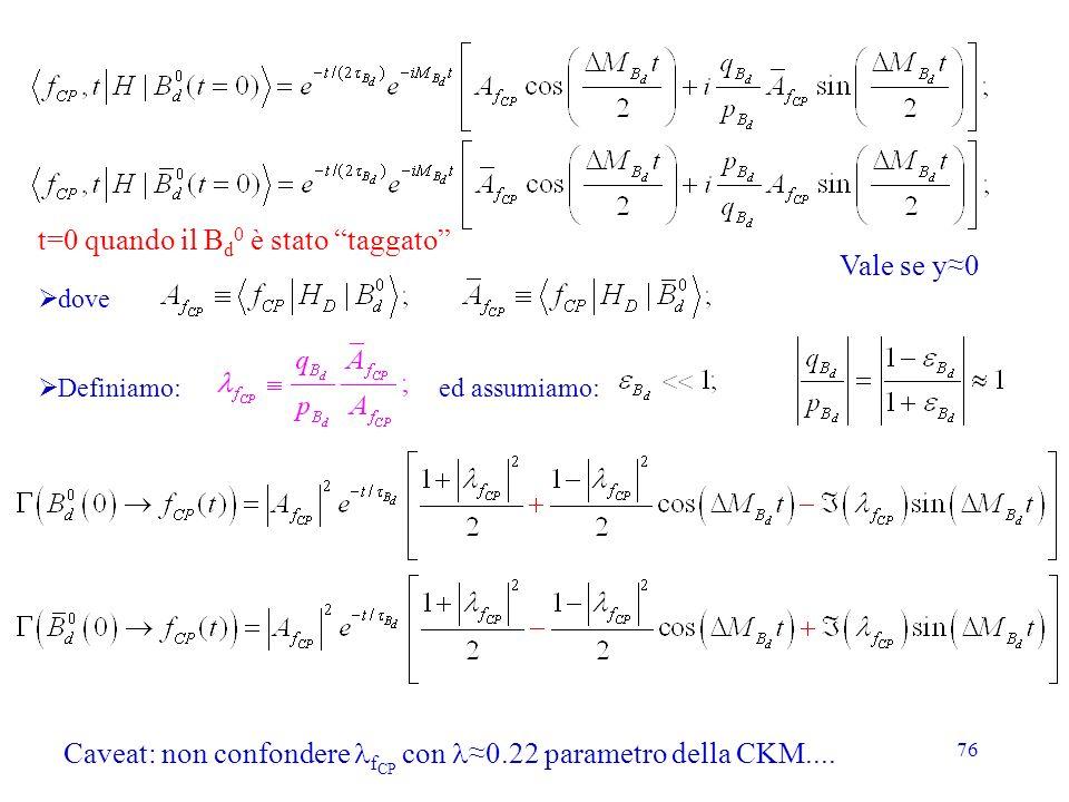76 dove Definiamo: ed assumiamo: t=0 quando il B d 0 è stato taggato Caveat: non confondere f CP con 0.22 parametro della CKM.... Vale se y0