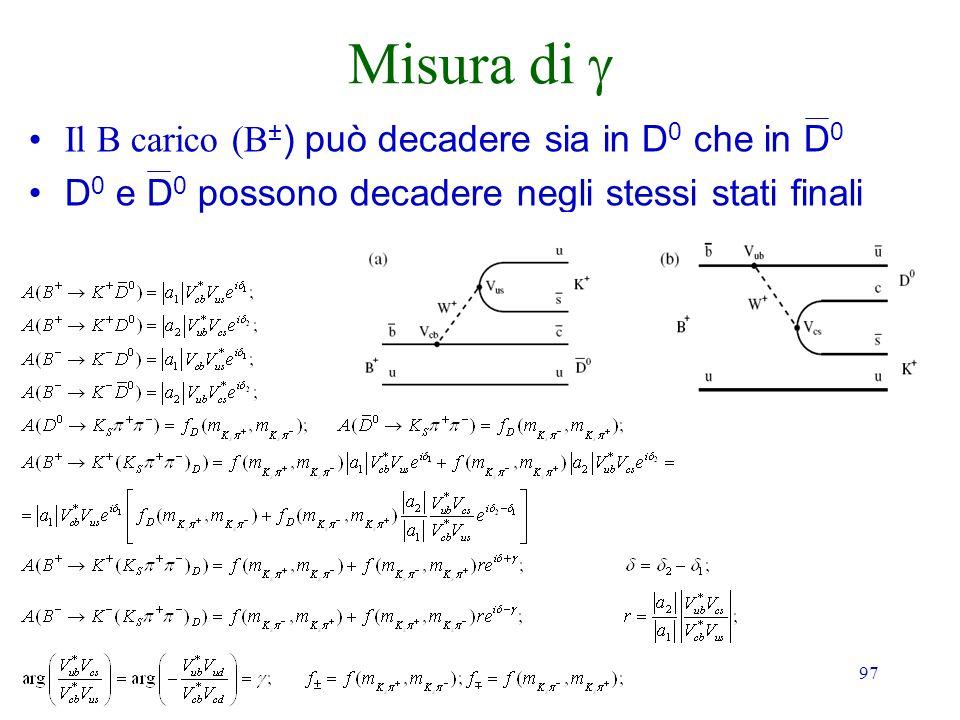 97 Misura di Il B carico (B ± ) può decadere sia in D 0 che in D 0 D 0 e D 0 possono decadere negli stessi stati finali
