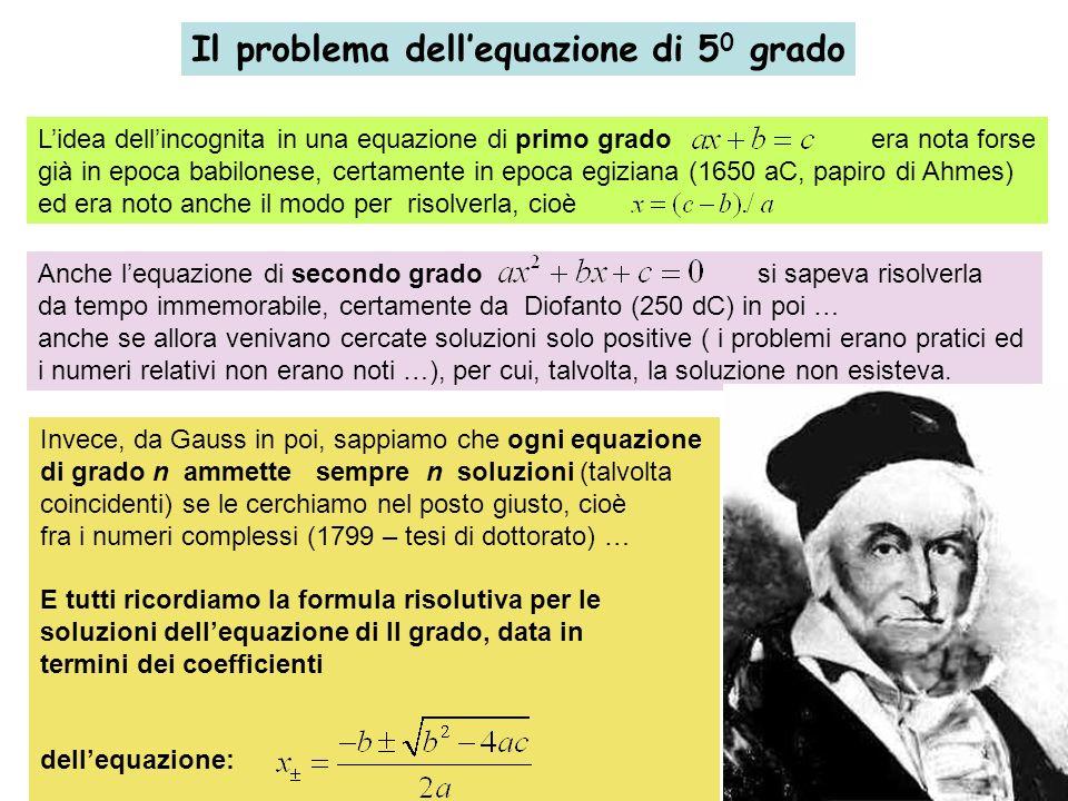 Il problema dellequazione di 5 0 grado Lidea dellincognita in una equazione di primo grado era nota forse già in epoca babilonese, certamente in epoca