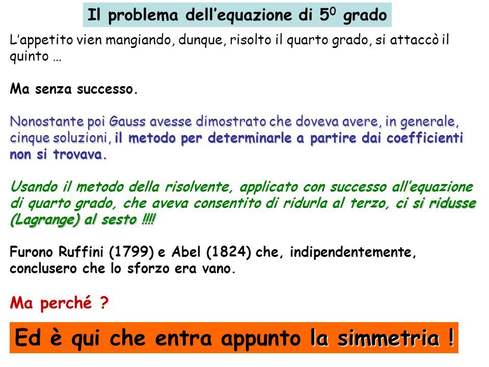Il problema dellequazione di 5 0 grado Lappetito vien mangiando, dunque, risolto il quarto grado, si attaccò il quinto … Ma senza successo. Nonostante