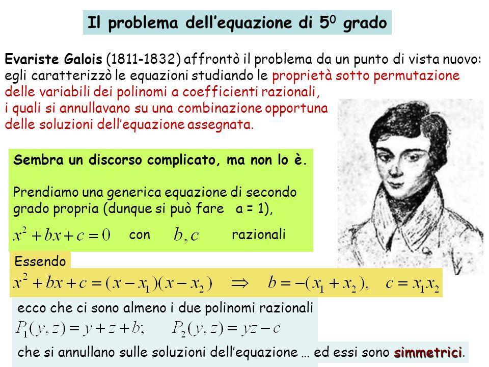 Il problema dellequazione di 5 0 grado Evariste Galois (1811-1832) affrontò il problema da un punto di vista nuovo: egli caratterizzò le equazioni stu