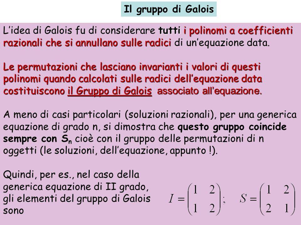 Il gruppo di Galois tuttii polinomi a coefficienti razionali che si annullano sulle radici Lidea di Galois fu di considerare tutti i polinomi a coeffi