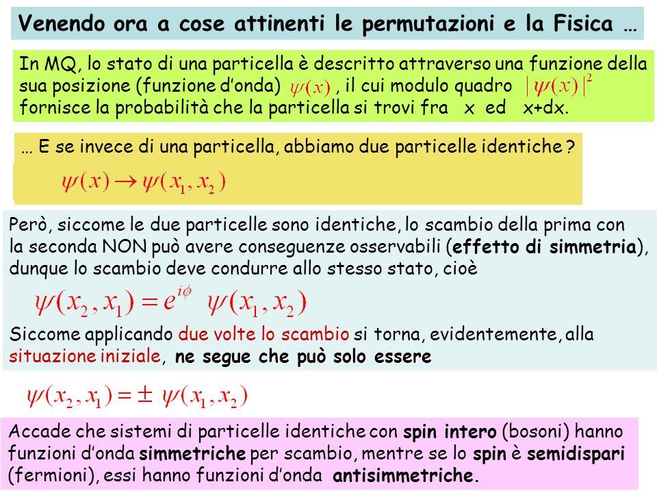 Venendo ora a cose attinenti le permutazioni e la Fisica … In MQ, lo stato di una particella è descritto attraverso una funzione della sua posizione (