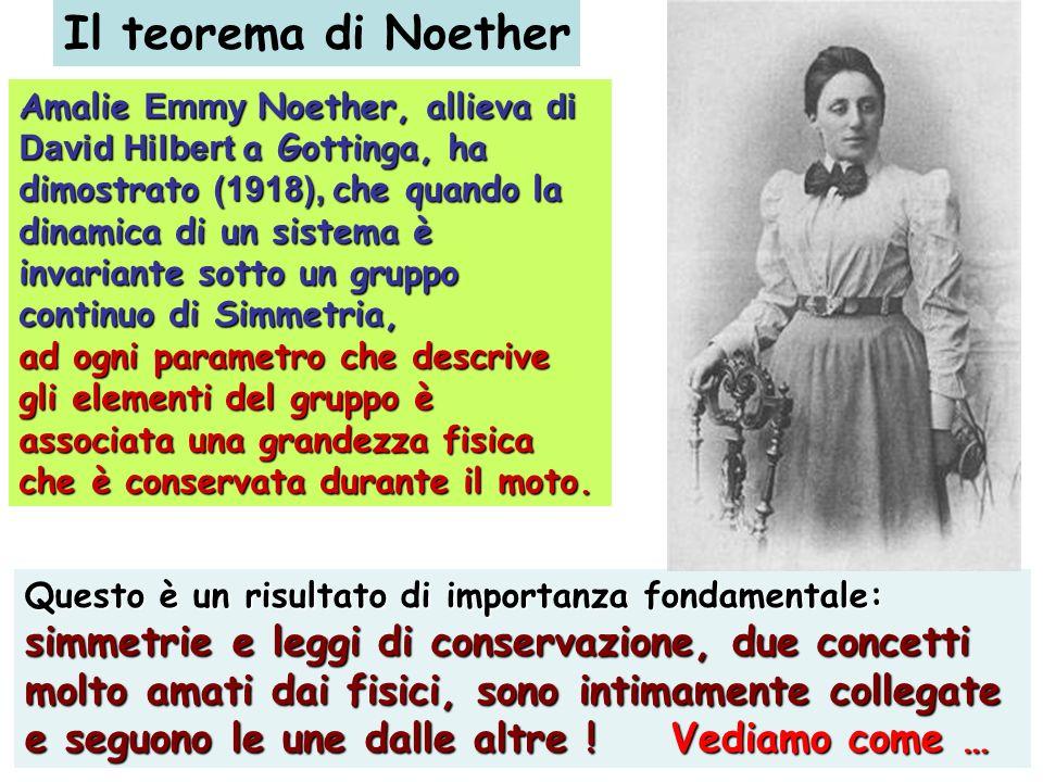 Amalie Emmy Noether, allieva di David Hilbert a Gottinga, ha dimostrato (1918), che quando la dinamica di un sistema è invariante sotto un gruppo cont