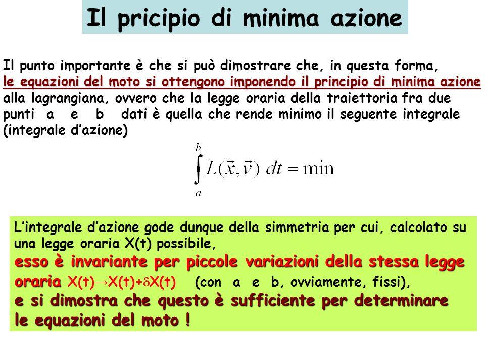 Il pricipio di minima azione Il punto importante è che si può dimostrare che, in questa forma, le equazioni del moto si ottengono imponendo il princip