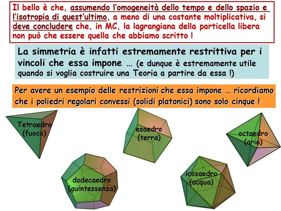 Tetraedro (fuoco) esaedro (terra) La simmetria è infatti estremamente restrittiva per i vincoli che essa impone … (e dunque è estremamente utile quand