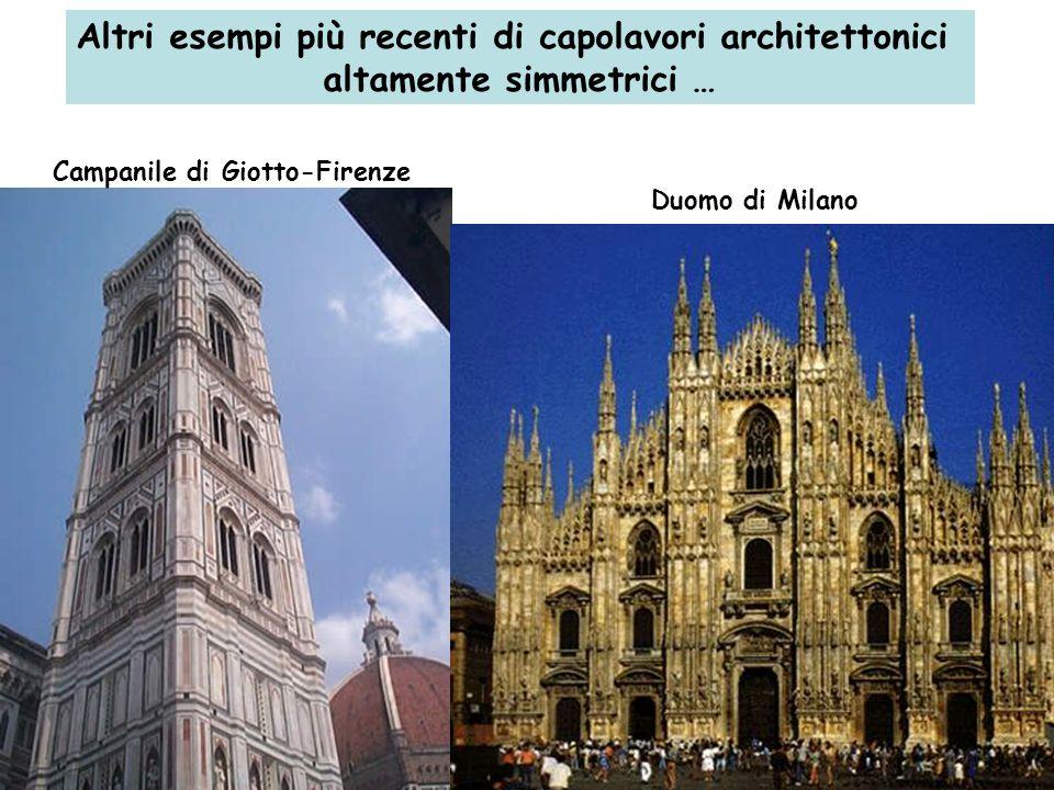 Altri esempi più recenti di capolavori architettonici altamente simmetrici … Campanile di Giotto-Firenze Duomo di Milano
