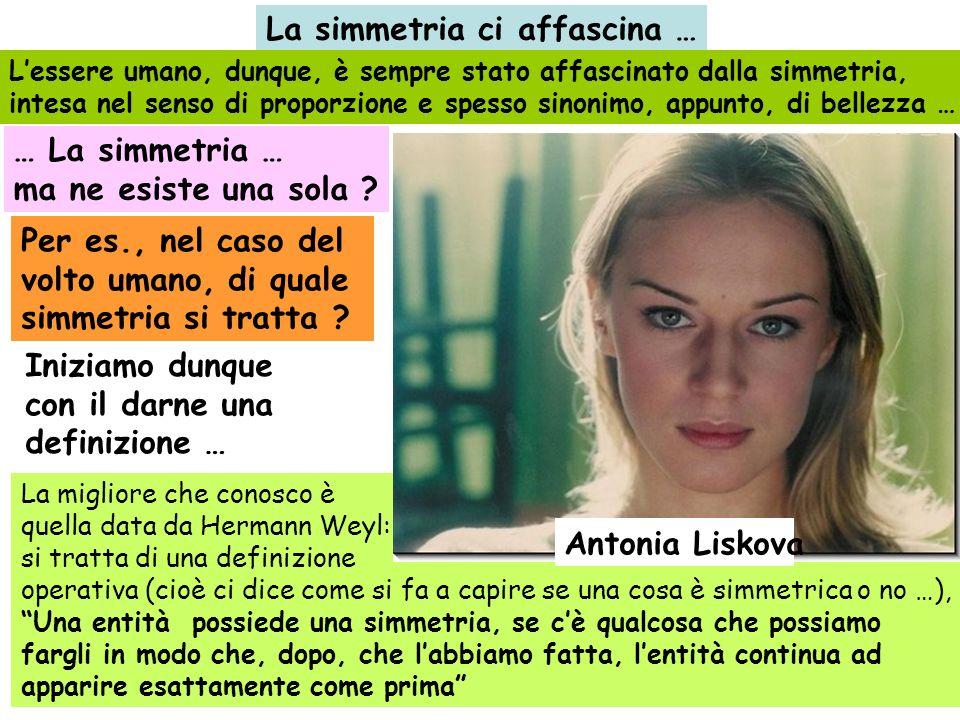 Nel caso del volto umano, si tratta della simmetria bilaterale … Nel caso dellUomo, non solo il volto, bensì tutto il corpo possiede esternamente la simmetria bilaterale (cosa non vera per quanto riguarda i suoi organi interni: il cuore è a sinistra, il fegato è a destra, etc…) destra sinistra Antonia Liskova