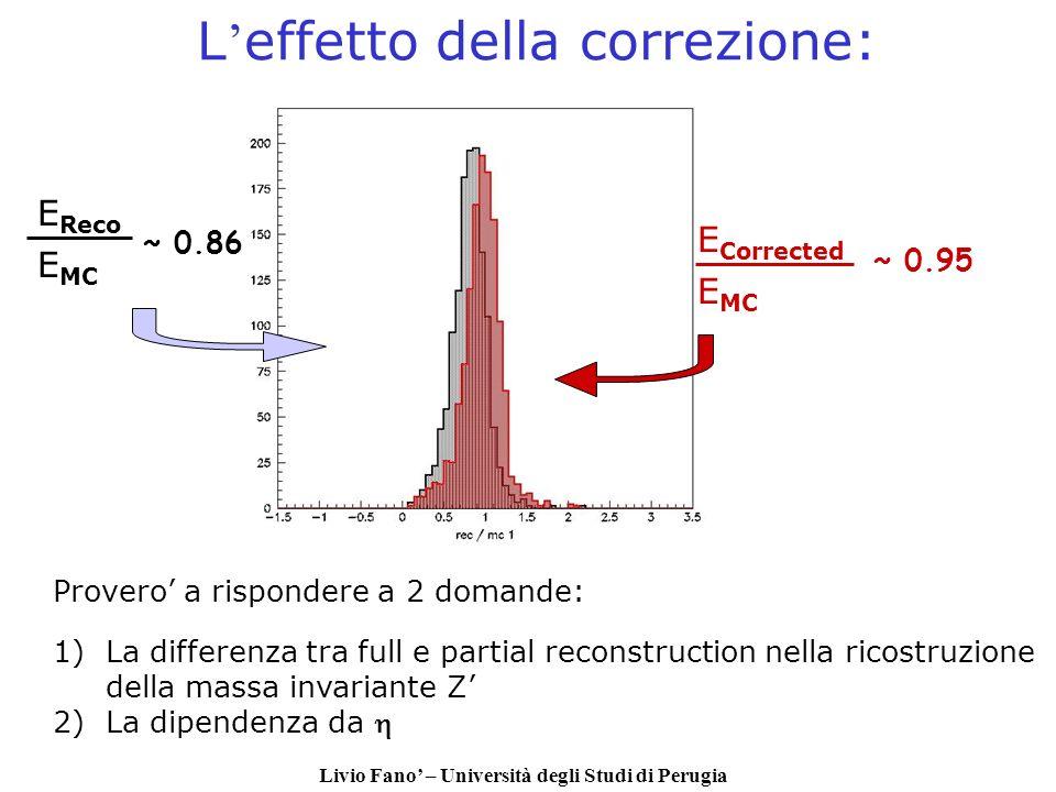 Livio Fano – Università degli Studi di Perugia L effetto della correzione: E Corrected E MC E Reco E MC ~ 0.95 ~ 0.86 Provero a rispondere a 2 domande