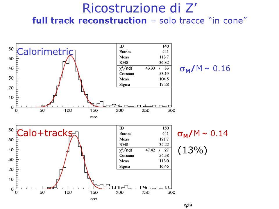 Livio Fano – Università degli Studi di Perugia Ricostruzione di Z full track reconstruction – solo tracce in cone M /M ~ 0.16 M /M ~ 0.14 Calorimetric