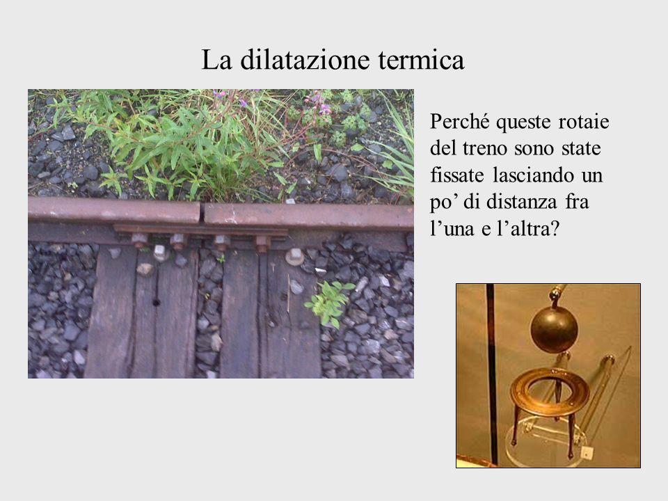 La dilatazione termica Perché queste rotaie del treno sono state fissate lasciando un po di distanza fra luna e laltra?
