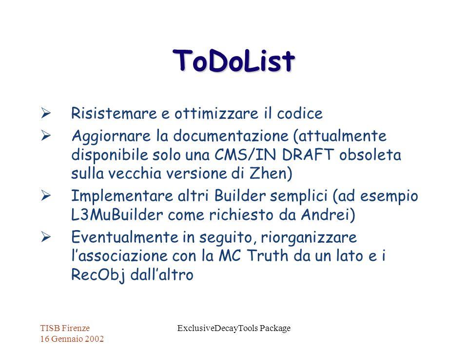 TISB Firenze 16 Gennaio 2002 ExclusiveDecayTools Package ToDoList Risistemare e ottimizzare il codice Aggiornare la documentazione (attualmente dispon