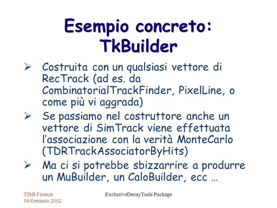 TISB Firenze 16 Gennaio 2002 ExclusiveDecayTools Package Esempio concreto: TkBuilder Costruita con un qualsiasi vettore di RecTrack (ad es. da Combina