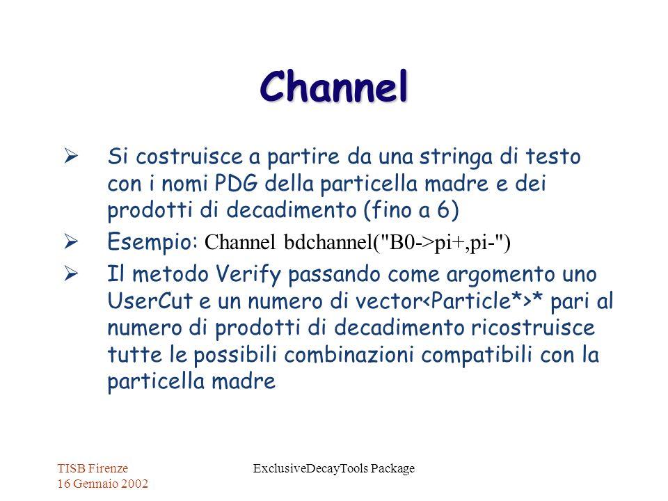 TISB Firenze 16 Gennaio 2002 ExclusiveDecayTools Package Channel Si costruisce a partire da una stringa di testo con i nomi PDG della particella madre