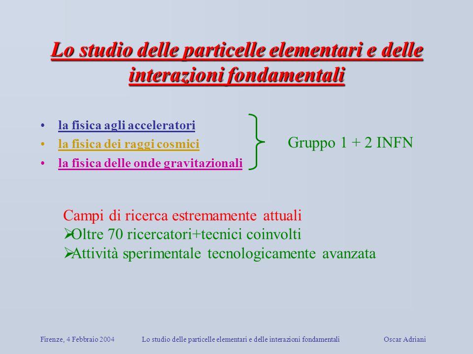 Firenze, 4 Febbraio 2004Lo studio delle particelle elementari e delle interazioni fondamentali Oscar Adriani Lo studio delle particelle elementari e d
