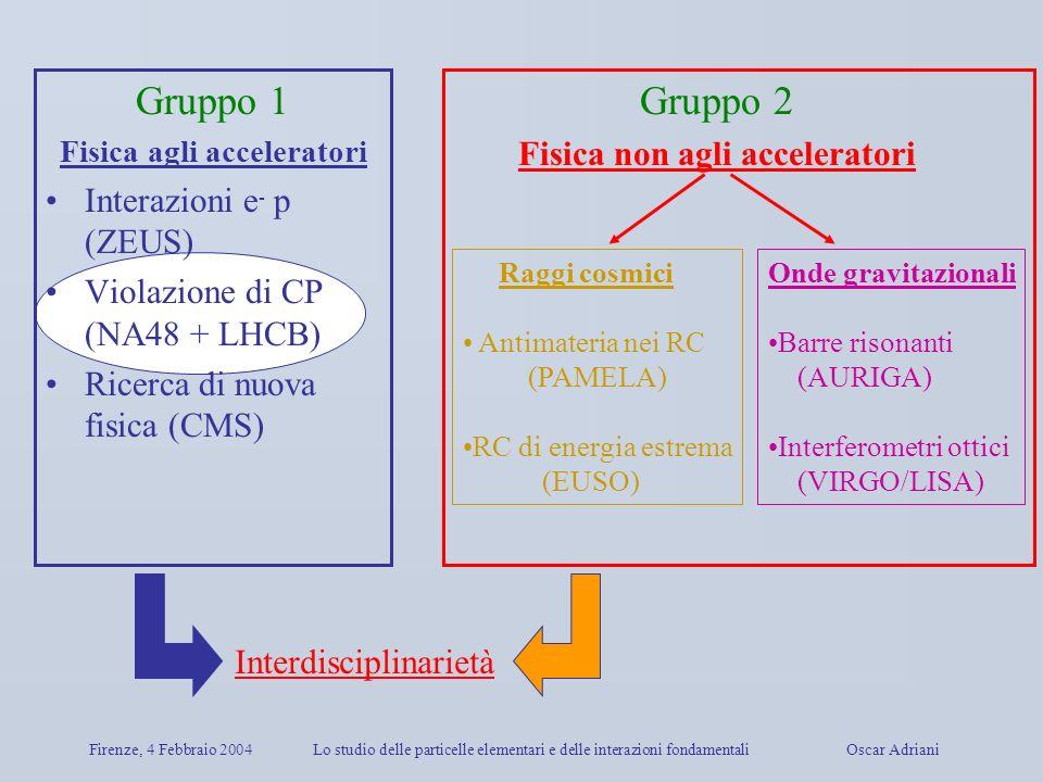 Firenze, 4 Febbraio 2004Lo studio delle particelle elementari e delle interazioni fondamentali Oscar Adriani Gruppo 1 Fisica agli acceleratori Interaz
