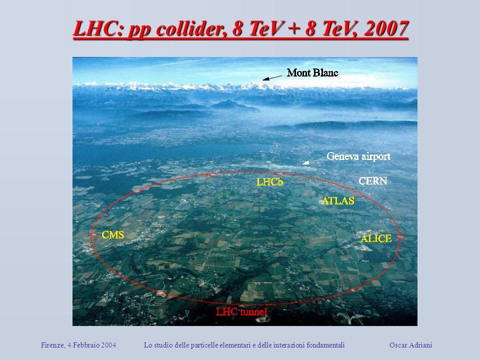 Firenze, 4 Febbraio 2004Lo studio delle particelle elementari e delle interazioni fondamentali Oscar Adriani LHC: pp collider, 8 TeV + 8 TeV, 2007