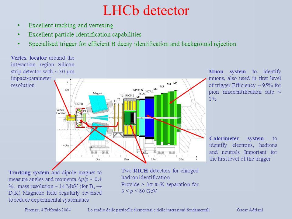 Firenze, 4 Febbraio 2004Lo studio delle particelle elementari e delle interazioni fondamentali Oscar Adriani LHCb detector Muon system to identify muo