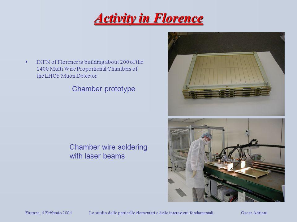 Firenze, 4 Febbraio 2004Lo studio delle particelle elementari e delle interazioni fondamentali Oscar Adriani Activity in Florence INFN of Florence is