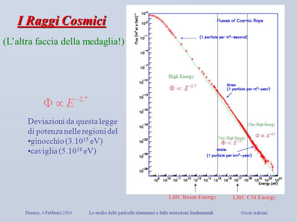 Firenze, 4 Febbraio 2004Lo studio delle particelle elementari e delle interazioni fondamentali Oscar Adriani Deviazioni da questa legge di potenza nel
