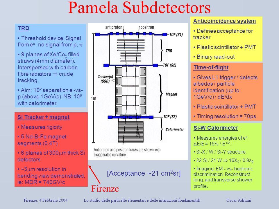 Firenze, 4 Febbraio 2004Lo studio delle particelle elementari e delle interazioni fondamentali Oscar Adriani Pamela Subdetectors TRD Threshold device.