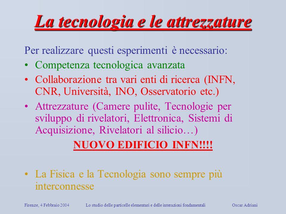 Firenze, 4 Febbraio 2004Lo studio delle particelle elementari e delle interazioni fondamentali Oscar Adriani La tecnologia e le attrezzature Per reali