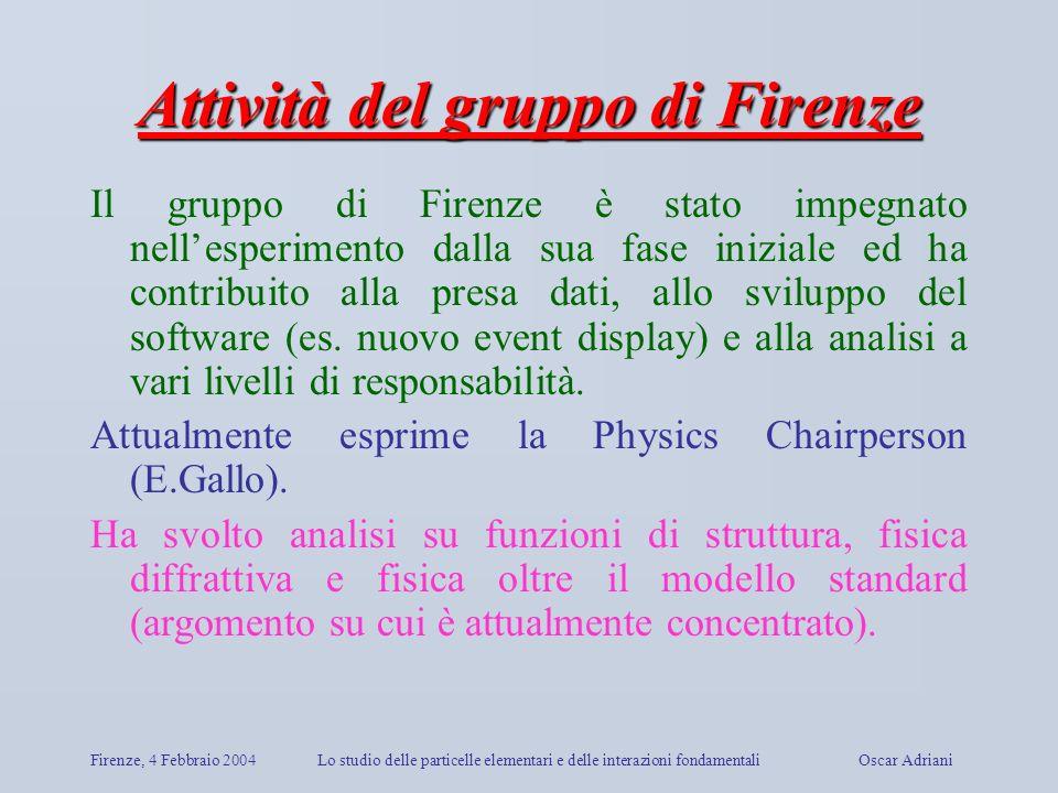Firenze, 4 Febbraio 2004Lo studio delle particelle elementari e delle interazioni fondamentali Oscar Adriani Attività del gruppo di Firenze Il gruppo