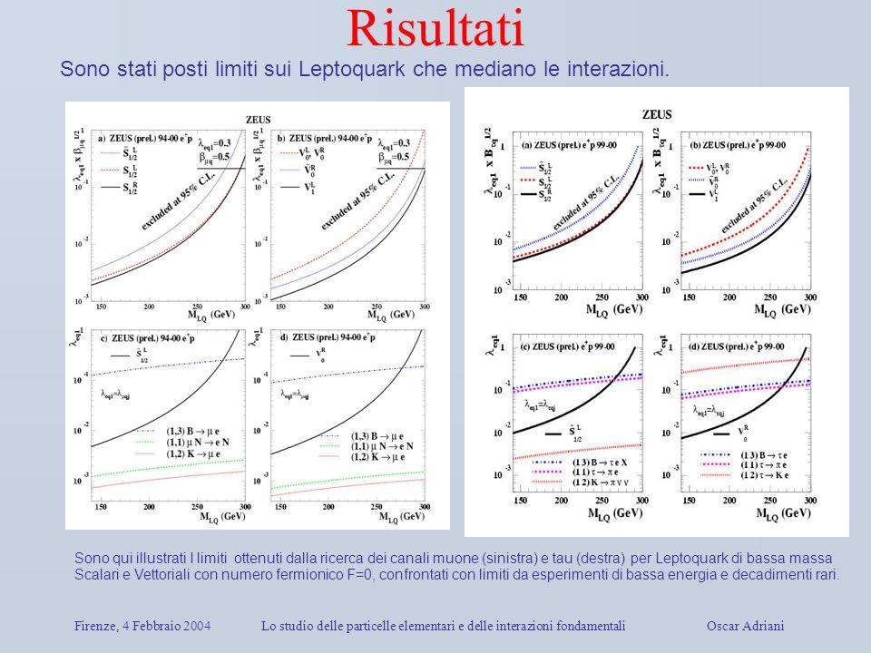 Firenze, 4 Febbraio 2004Lo studio delle particelle elementari e delle interazioni fondamentali Oscar Adriani Risultati Sono stati posti limiti sui Lep