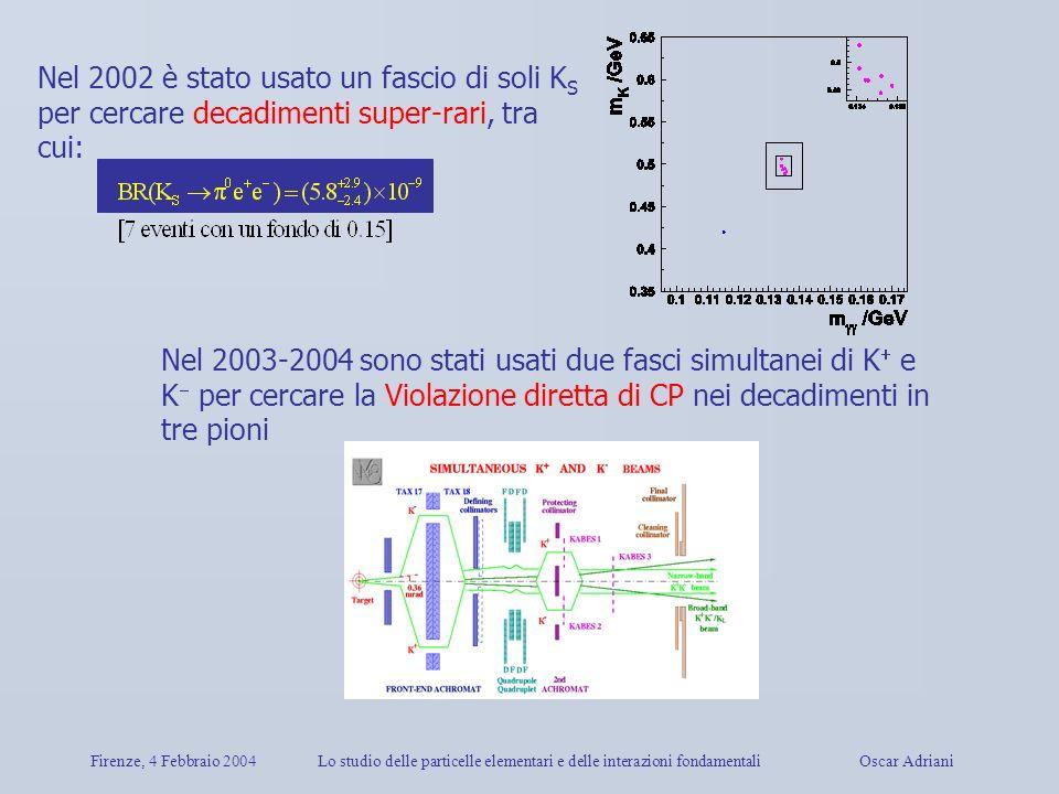 Firenze, 4 Febbraio 2004Lo studio delle particelle elementari e delle interazioni fondamentali Oscar Adriani Nel 2002 è stato usato un fascio di soli